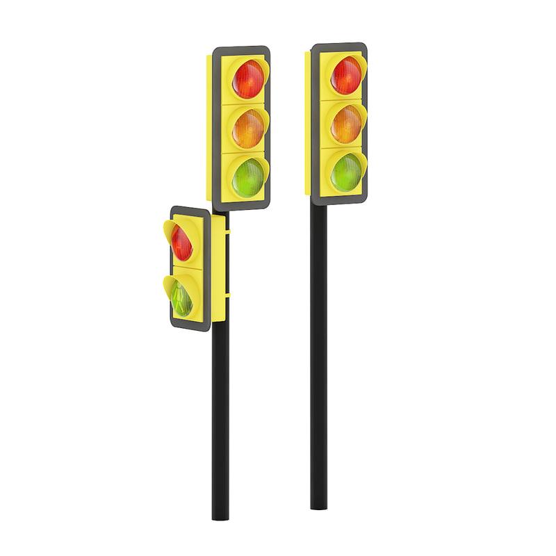 3d traffic lights road