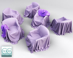 couch covered cloth 3d model
