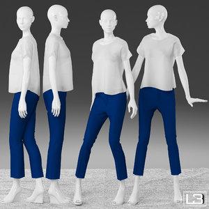 3d model woman mannequin clothes