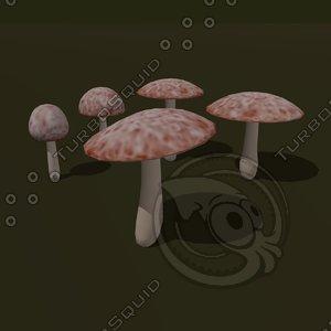 3d model of mushroom cartoon