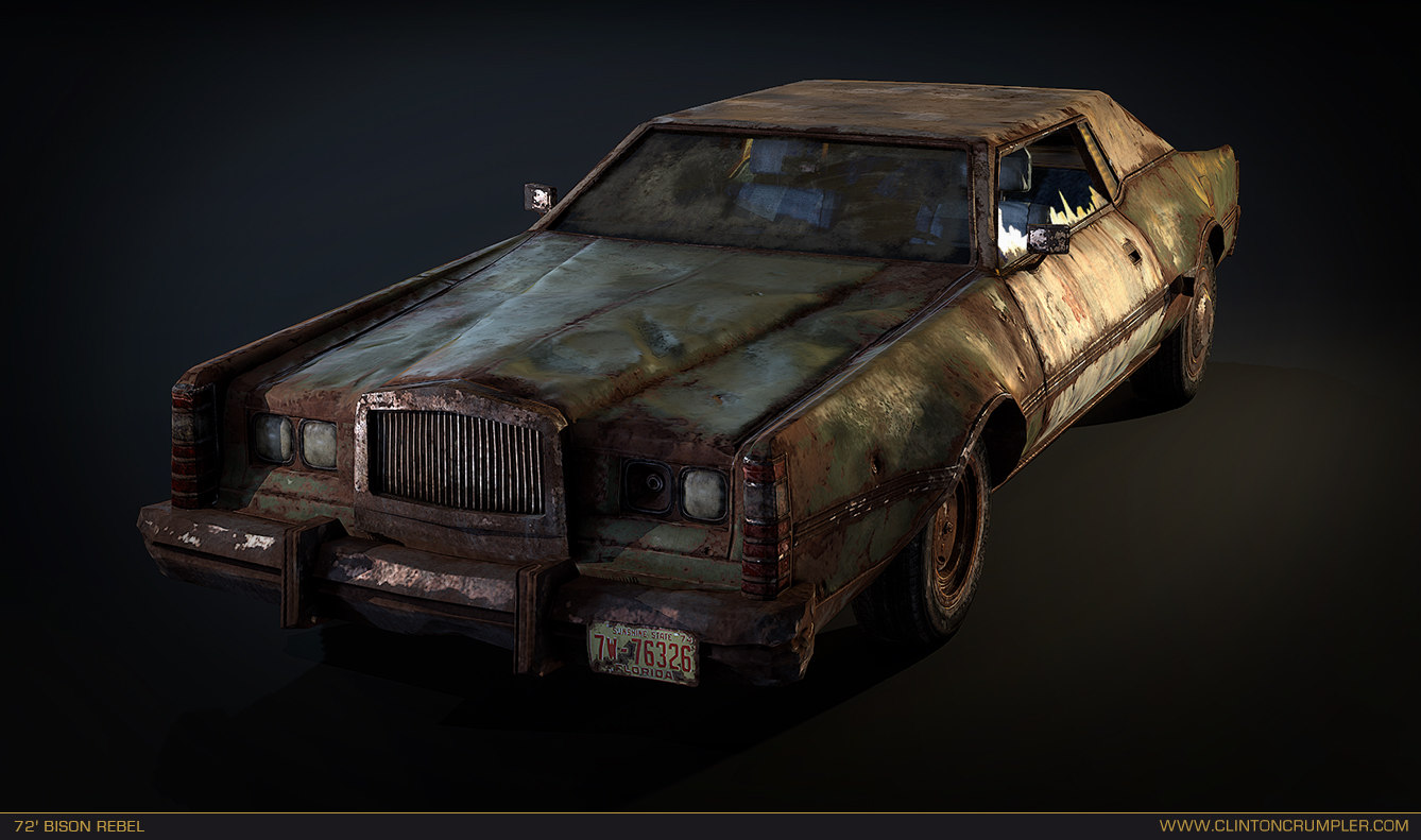 post apocalyptic car 3d obj