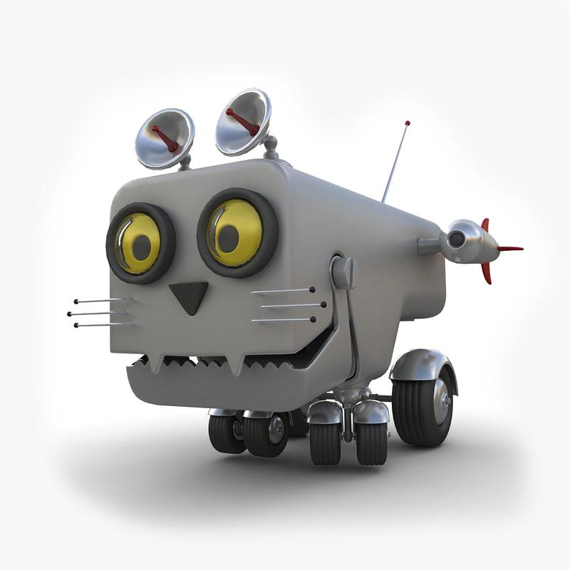 3d model toy robot cat