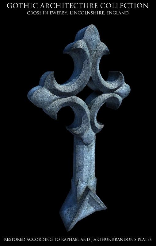 3d model gothic cross ewerby