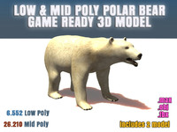 Polar Bear Low Poly & Mid Poly Game Ready