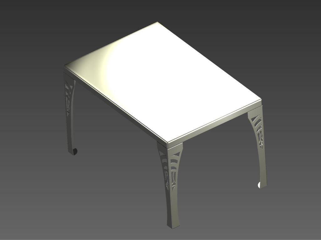 3d stainless steel table glass model