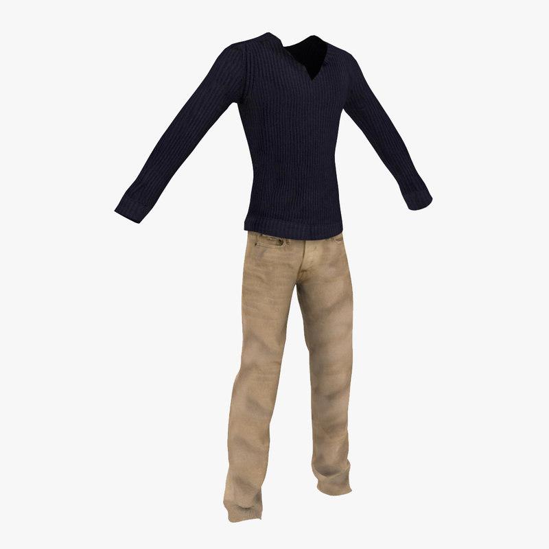 long sweater denim jeans 3d model
