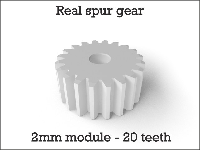 real spur gear 2mm 3d model