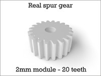 Real spur gear 2mm module - 20 teeth