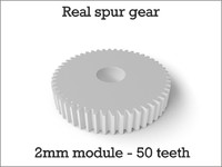 Real spur gear 2mm module - 50 teeth
