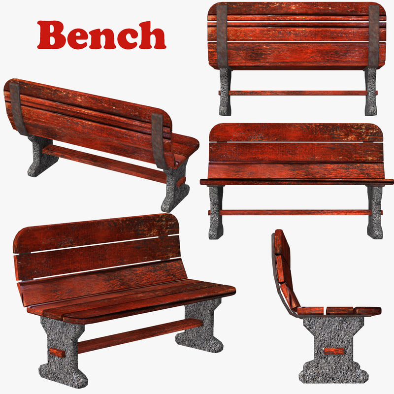 3d model seating bench