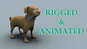3d rigged dogs pug model