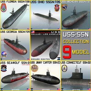uss ssn ssgn 9 3d model