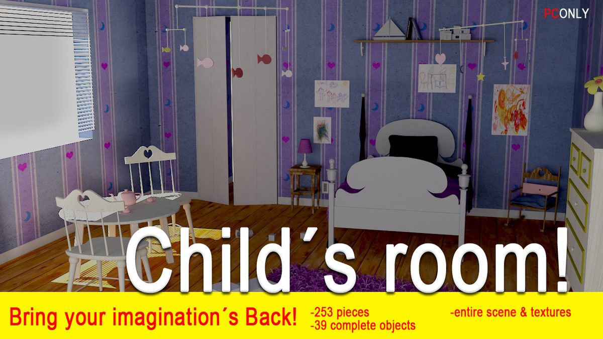 kids room 3d max