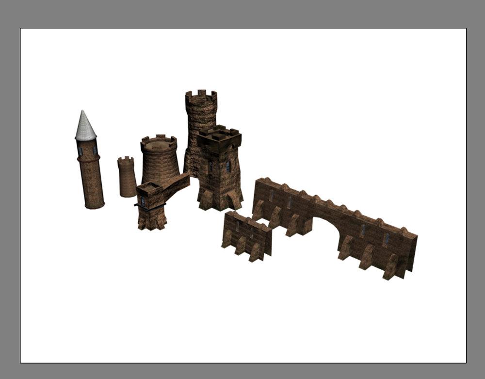3d model castle building pack