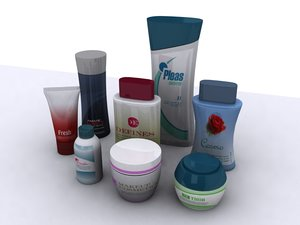 3d model cosmetic bottles cans