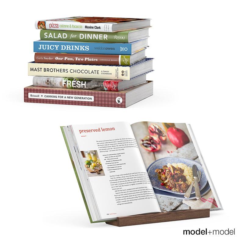 3d set kitchen books stand