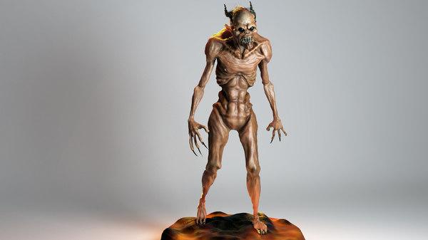 3d demon concept rigged model