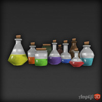 Low Poly Potions Bottle Set
