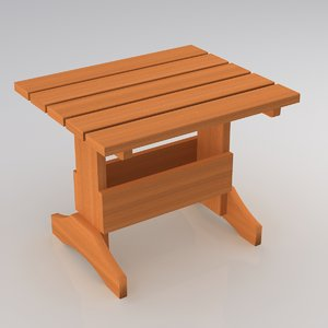 wooden adirondack table 3d model