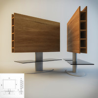 3d tv-stand base wood metal