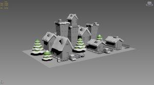 low-poly buildings snow 3d model