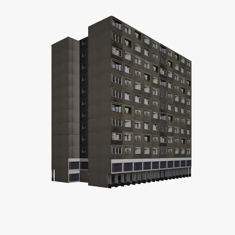 3d residential block house building model