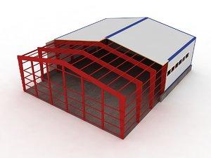 3d model industrial building h cut