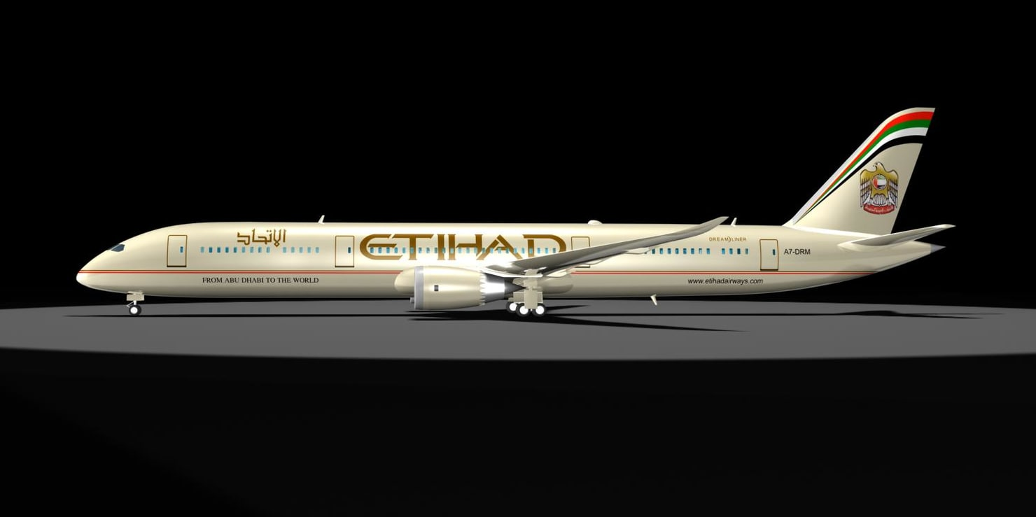 3d model etihad 787-9 dreamliner 787