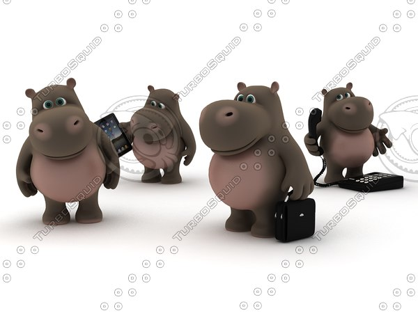 hippo cartoon 3d model