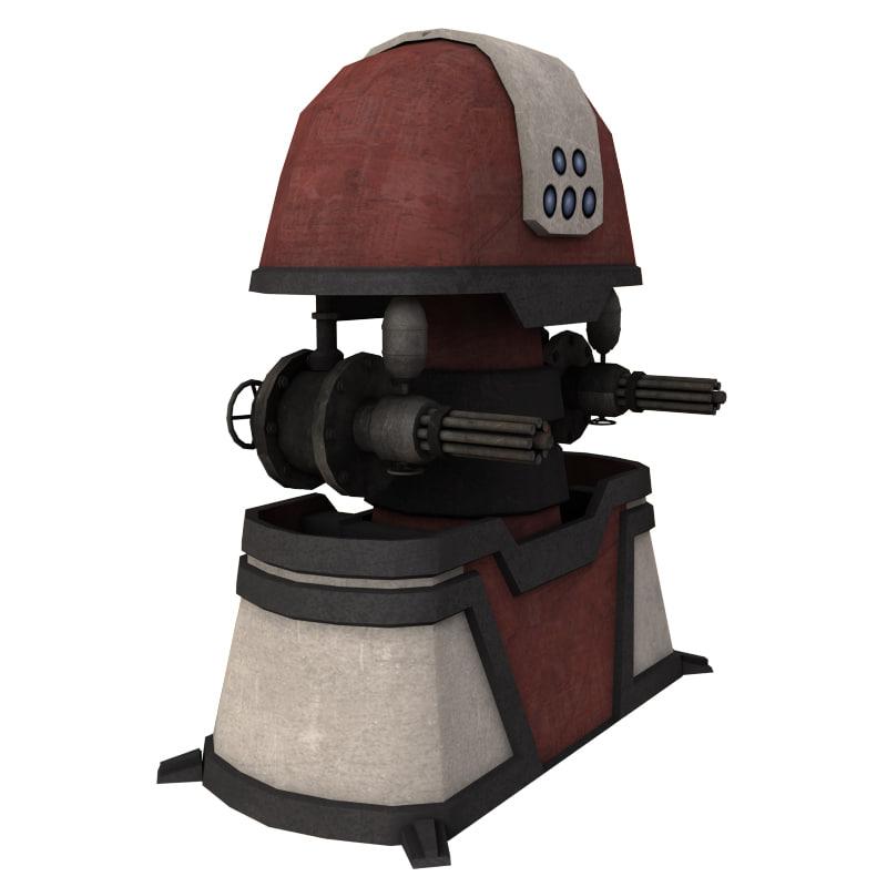 gun turret 3d max
