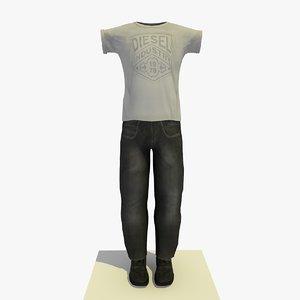 man clothes t-shirt 3d c4d