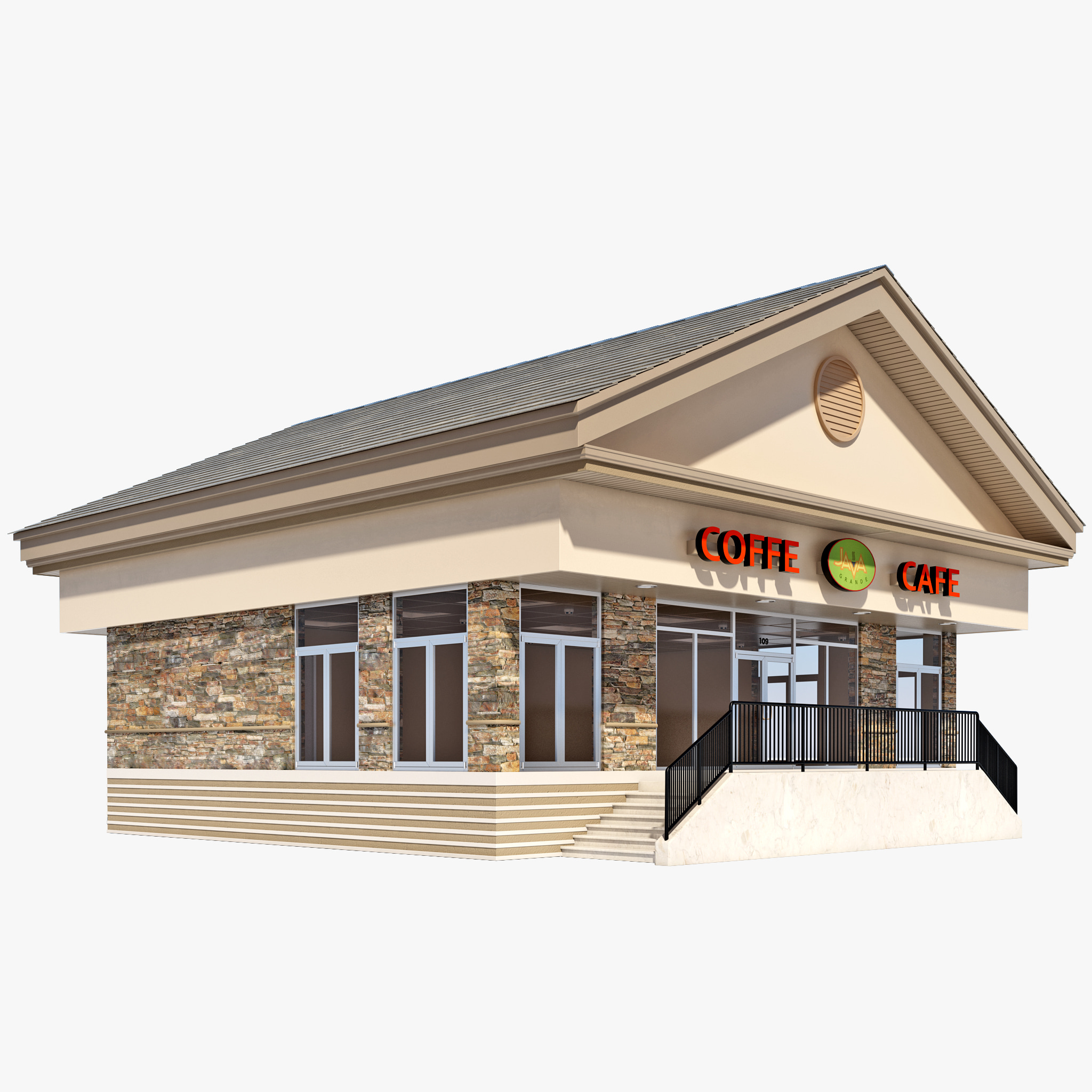 Coffee shop house 3d model for House 3d model