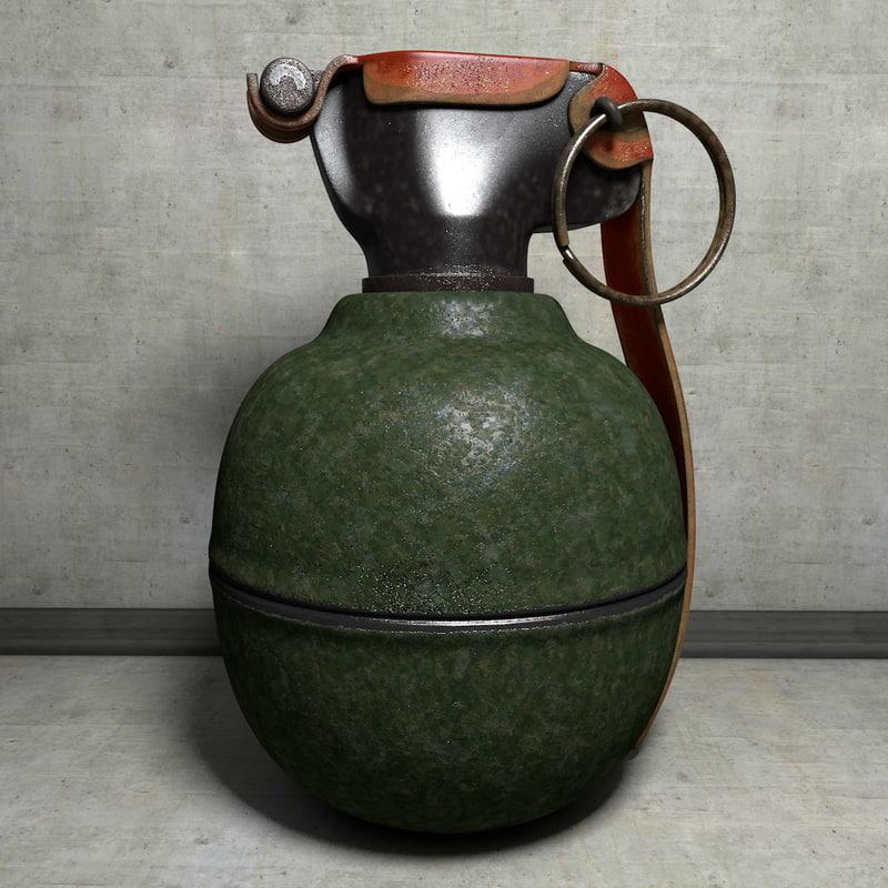 3d model fragmentation grenade