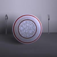 plate fork spoon 3d model