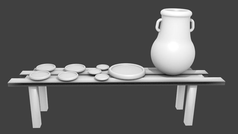 3d obj vase plates wooden table