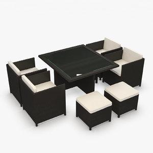 furniture set rattan 3d model