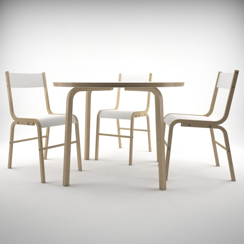 3d model modern chairs table ikea
