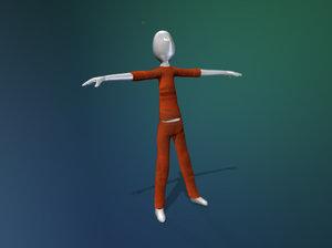 rigged stick figure 3d model