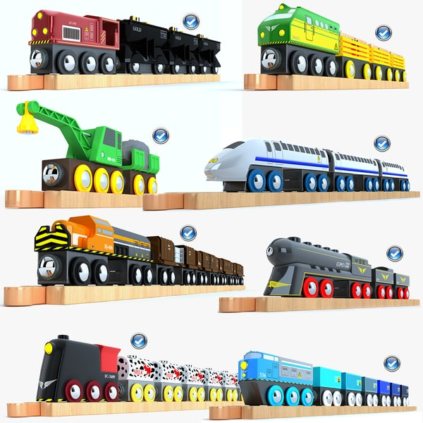 3d model of kids train toys 3