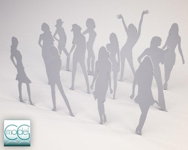 silhouette people 3d c4d