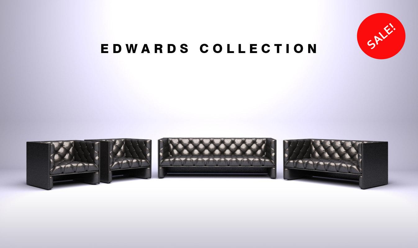 furniture edwards sofa 3d model