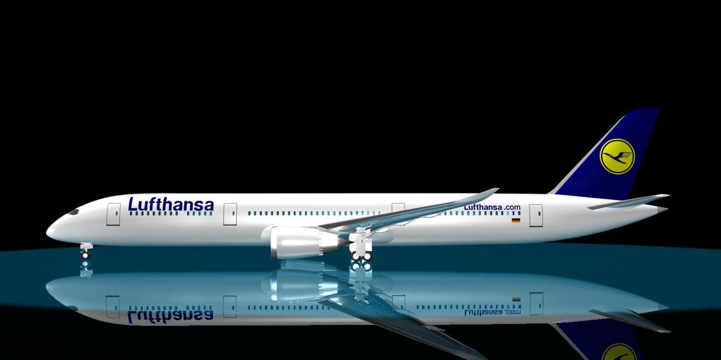 lufthansa 787-9 dreamliner 787 3d max