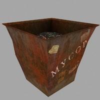 3d old dustbin model