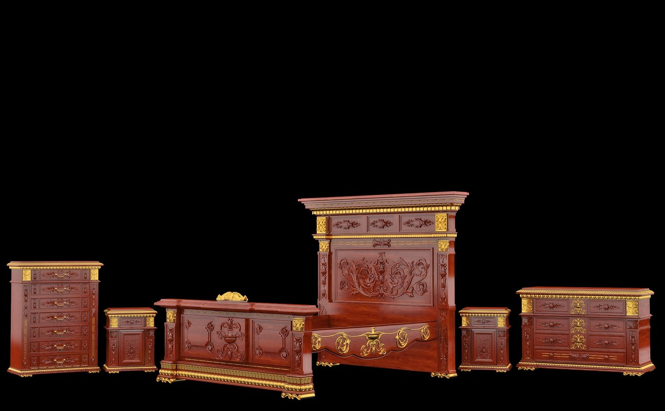 classical antiquarian bedroom 3d max