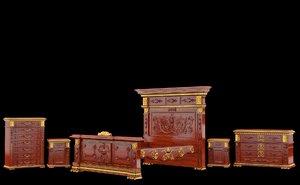 classical antiquarian bedroom 3d max