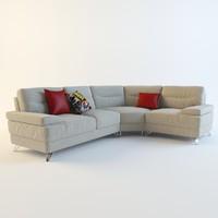 3d gray corner sofa pillows model