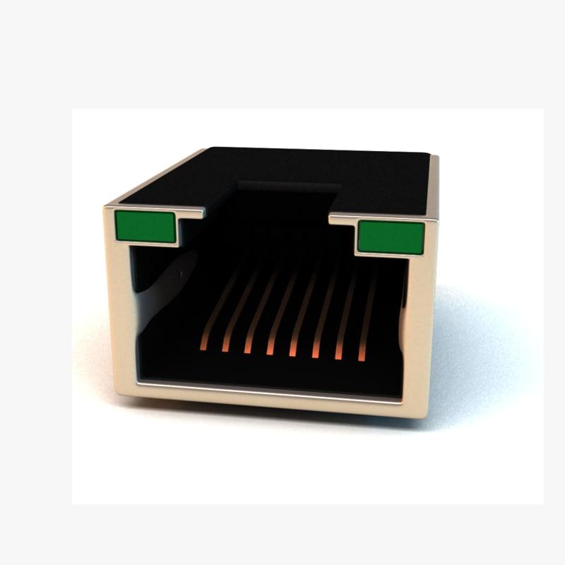 computer lan port 3d model