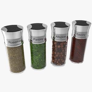 3d spice bottles set 2
