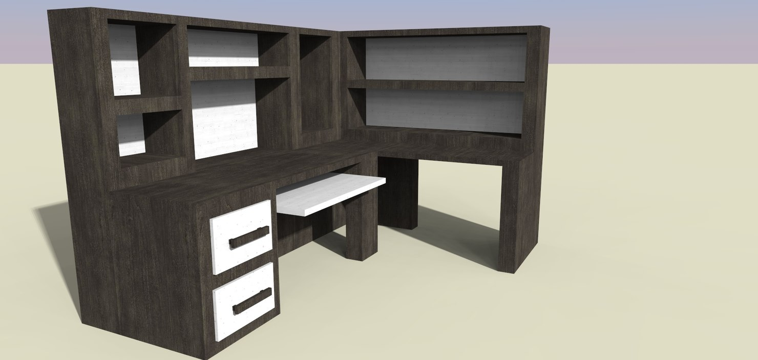 maya desk black white