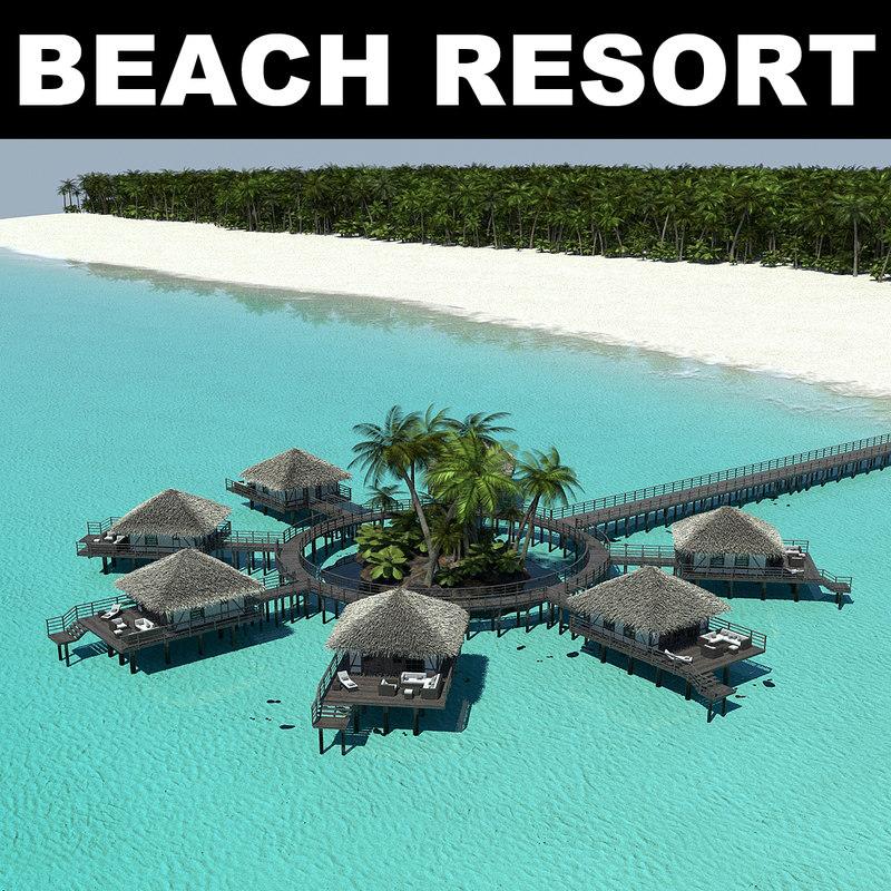 Tropical beach 3d max